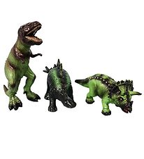 Green Rubber Toys Animals - 3-pack - 19 cm - Dinosaurs