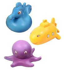 Green Rubber Toys Bath Toys - 3-pack - 8 cm - Purple/Blue/Yellow