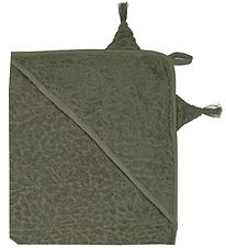 Pippi Hooded Towel - 83x83 - Deep Lichen Green w. Dragon