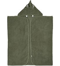 Pippi Hooded Towel - 70x120 - Deep Lichen Green w. Dragon