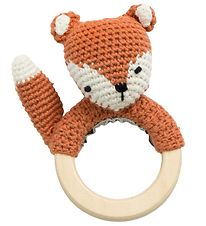 Sebra Rattle - Crochet - Sparky the Fox - Fox Tail Red