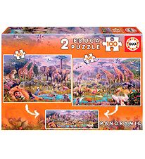 Educa Puzzle - Panorama - 2x100 Pieces - Savannah