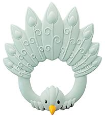 Natruba Teether - Natural rubber - Peacock - Light blue