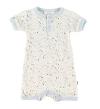 Joha Summer Romper - Ivory w. Grey/Blue