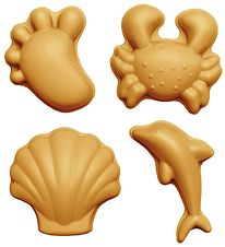 Scrunch Sand Molds - 4 pcs - Silicone - 6,5-10,5 cm - Mustard