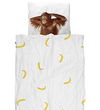Snurk Duvet Cover - Junior - White w. Banana/Orangutan