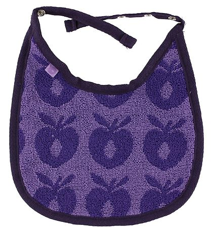 Småfolk Terry Bib - Purple w. Apples