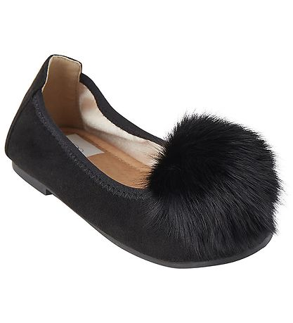 Petit By Sofie Schnoor Ballerina Shoes - Sandie - Black w. Pom P