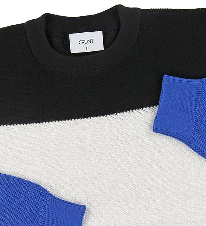 Grunt Blouse - Ludvig - Knitted - Black/White/Blue