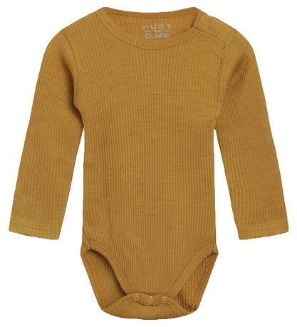 Hust and Claire Bodysuit l/s - Berry - Wool/Bamboo - Mustard