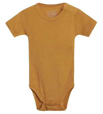 Hust and Claire Bodysuit s/s - Bet - Wool/Bamboo - Mustard