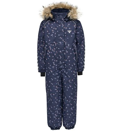 Hummel Snowsuit - HMLIcy - Blue w. Flowers