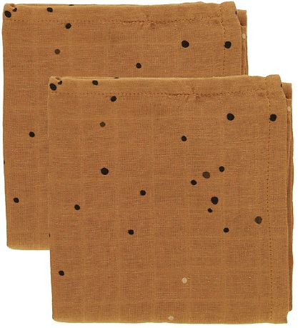 Done By Deer Muslin Cloth - 70x70 - 2-pack - Mustard Dreamy Dots