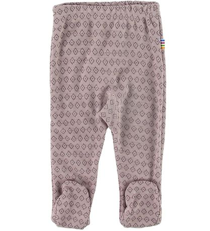 Joha Leggings w. Foot - Wool - Rose w. Pattern