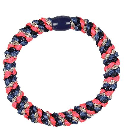 Kknekki Hair Tie - Dusty Blue/Neon Pink Glitter