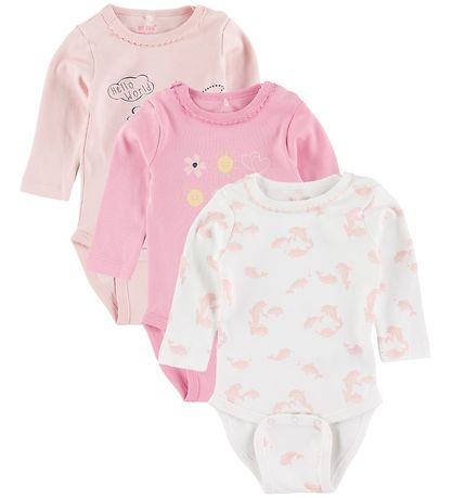 Me Too Bodysuits L/S - 3-pack - Rose/White