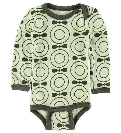 Katvig Bodysuit l/s - Wool - Green w. Apples
