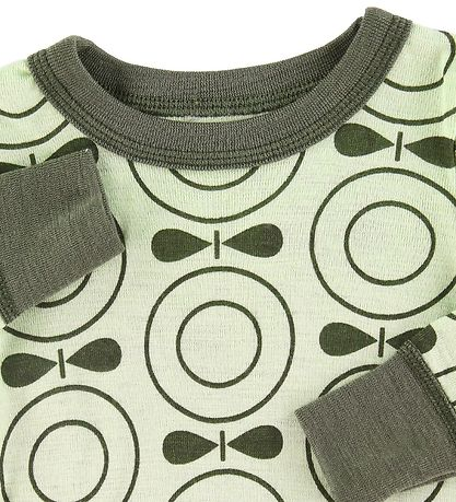 Katvig Long Sleeve Top - Wool - Green w. Apples