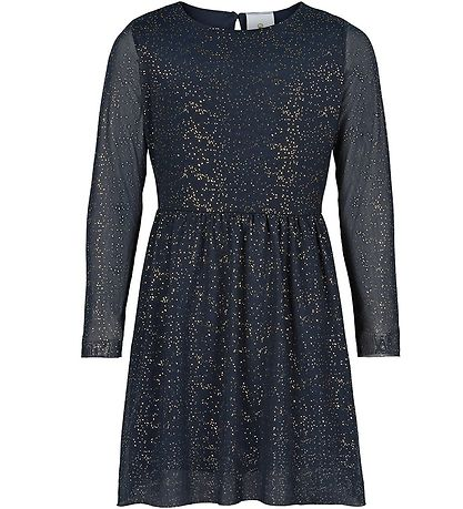 The New Dress - Elly - Navy w. Gold Dots