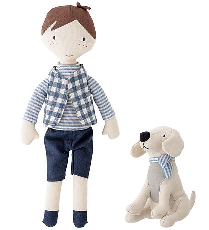 Bloomingville Doll w. Dog - Hør - Blue
