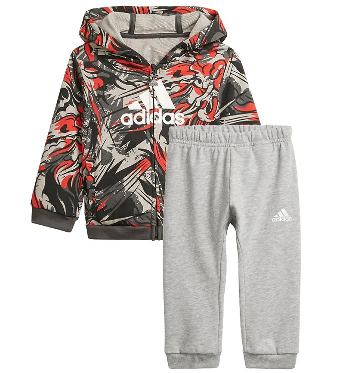 adidas Performance Sweatset - Grey Six/Vivid Red/White