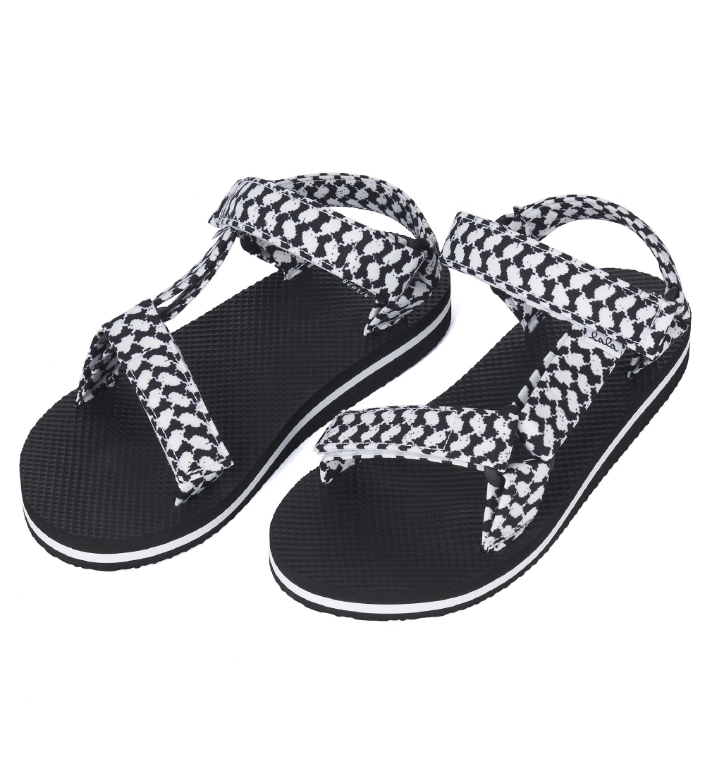 Lala Berlin Sandals - Alanis - Kufiya Scribble Black