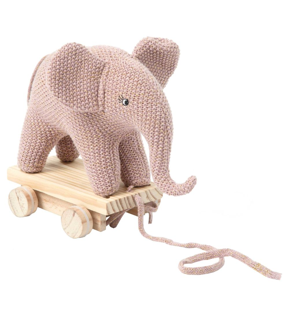 Smallstuff Pull Along Toy - Elephant - Knitted - Rose/Glitter