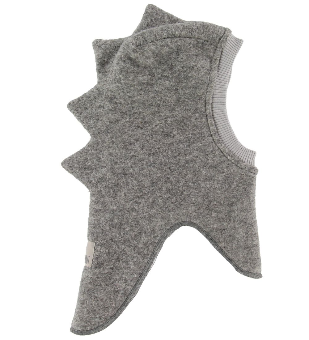 Huttelihut Balaclava - Wool/Cotton - Double Layer - Dino - Grey