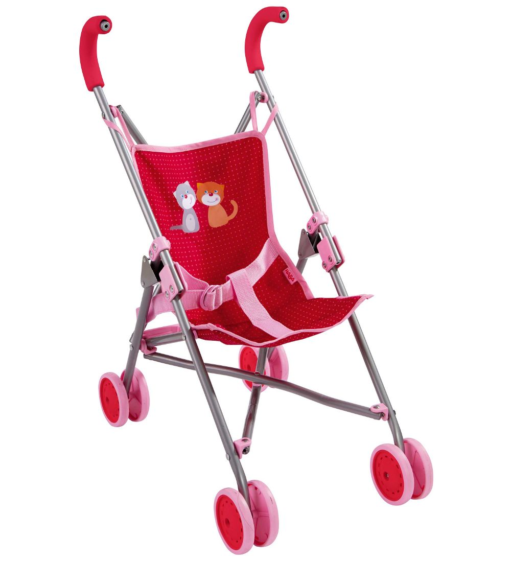 HABA Doll Stroller - Red/Pink