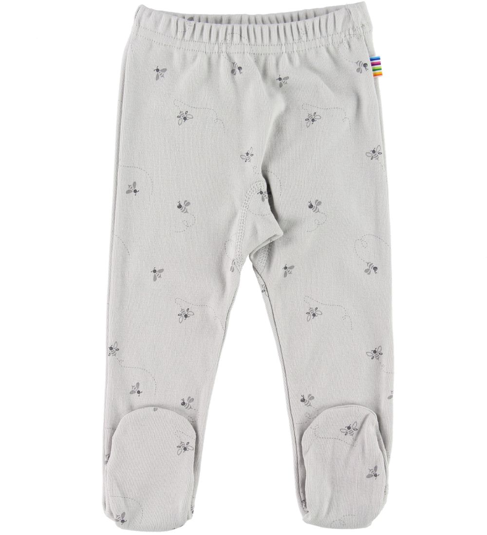 Joha Leggings w. Footies - Grey w. Bees
